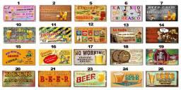 Placas Decorativas com Frases Divertidas de Bebida Kit com 7 placas
