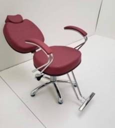 Cadeira Hidráulica Cromada (fixa ou reclinável)