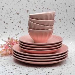 (Dia dos namorados) Aparelho de Jantar Cerâmica Rosa 12 Peças