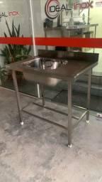 Pia Funda 100% Aço Inox para Food truck, Lanchonetes, lavatorio