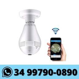 Lâmpada Câmera Espiã Ip Wifi Hd Panorâmica 360º - Monitorada via celular