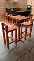 Promoção mesa rústica madeira eucalipto 299,00 bistrô com banquetas 240,00