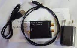 Conversor de audio Digital Toslink Coaxial Para audio RCA Analógico som TV p\ hometheater