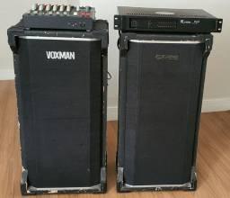 Conjunto com Amplificador + Mesa de Som + 2 P.A.'s