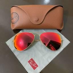Óculos Ray-Ban Laranja com Dourado