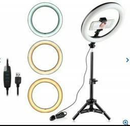 Ring Light Completo Iluminador Portátil 26cm + Tripé 2m Top<br>