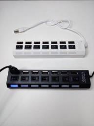 Título do anúncio: NOVO - Hub USB 2.0 7 portas com Chave Seletora (Entrega grátis JP)