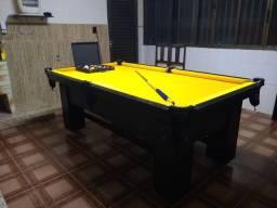 Título do anúncio: Mesa de Bilhar Charme Preta Tx Tecido Amarelo Modelo LPO1245