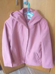 Casaco rosa claro de Lã Batida