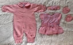 Saída De Maternidade Menina Rosa Com Vestido- 5 Peças