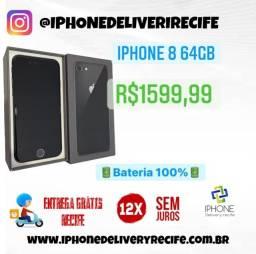 IPhone 8 64gb Preto (12 X Sem Juros) Entrega Grátis Recife