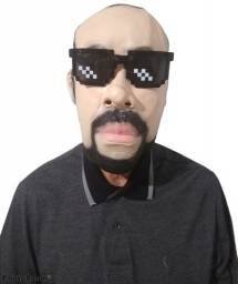 Máscara p/ Teatro, Cosplay - Segurança / Homem com barba e cavanhaque + Óculos do meme