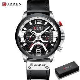 Relógio De Luxo Curren Original Cronógrafo Quartzo Militar Pulseira Em Couro