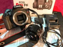 Câmera Cânon T6 com Lente 50mm