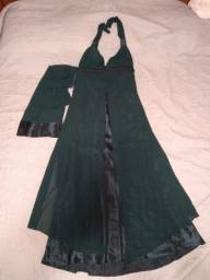 Vestido de festa em cetim verde musgo