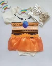 Body Infantil Tema Moana + Laço