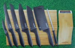 Kit de facas Royal VKB + tábua de cortar + cepo de bambu + amolador