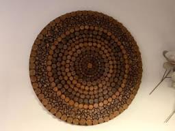 Quadro Mandala de Madeira 89 cm Diâmetro