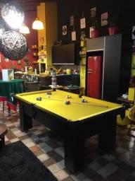Mesa de Bilhar 2,20 x 1,20 Tecido Amarelo Preta TX Frete Grátis