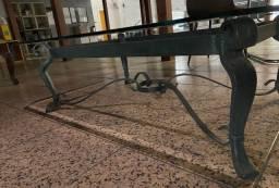 Mesa de centro ferro com tampo em vidro