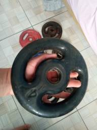 Kit 40kg Anilhas Emborrachadas e de Ferro + 2 Halteres + Barra Supino 1,20m Aceito Pix!
