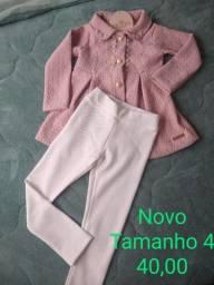 Conjunto casaco calça novo tamanho 4