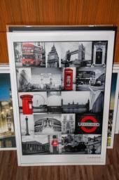 Quadro Wall Street Posters MDF Branco 95 cm x 64 cm x 3 cm