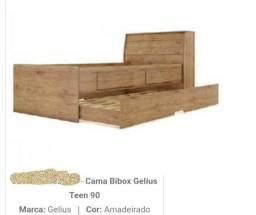 Colchão Gazin supreme D20 12cmx1,88mX1,88mX88cm Liso e Cama BIBOX GELIUS TEEN
