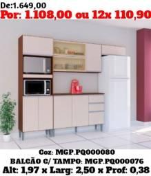 Cozinha Compactada Com Balcão - Selo de Confiança - Paga Mais Barato Na Loja