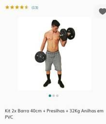 Kit 2 barras 40 cm + 32 kg em Anilhas