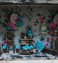 quadro artesanal mini jardim