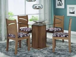 Mesa Sophia com Tampo de Vidro + 4 cadeiras - Pronta Entrega!!!!