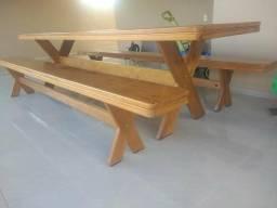 Mesa com bancos 3.00mts - pronta entrega