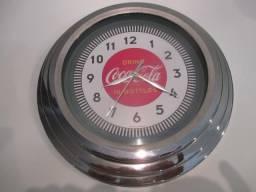 Relógio de parede Coca-cola retrô 1930's cromado na caixa (30 cm x 5cm)