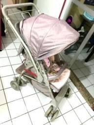 Carrinho de bebê Galzerano Rosa/cinza (Top da Categoria)