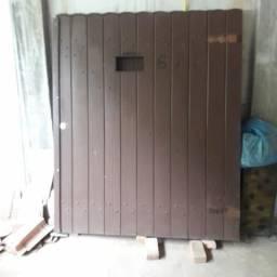 Portão de maçaranduba garagem + social