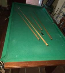 Mesa de sinuca/bilhar em madeira maciça completa