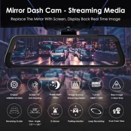 Retrovisor com câmera dupla DVR touchscreen 10pol