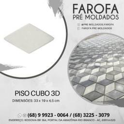 Piso cubo 3D em concreto pré moldado