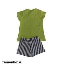Conjunto Roupa Blusa Camiseta Infantil Short Feminino Tam.4