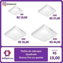 Luminária plafon LED Quadrada Branco frio Sobrepor 6W 12W 18W 25W