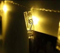 Luminárias cordão led prendedor 10 unidade