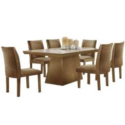 Conjunto Sala de Jantar Mesa Pietra com 6 Cadeiras Granda LJ Móveis Castanho Prêmio