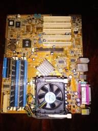 Placa mãe Asus P4s800D com processador, cooler e memória Ram