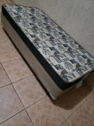 CAMA BOX SOLTEIRO+COLCHÃO (COM BASE MARRON NO SUEDE)ENTREGO