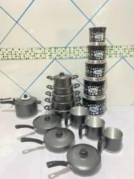 Kit de panelas de alumínio de várias cores