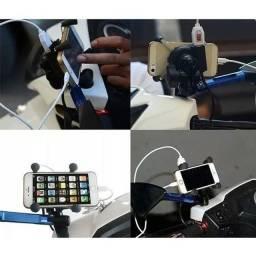 Suporte Carregador Moto Celular Fixa Retrovisor (tmac)<br><br>