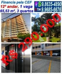 Apartamento no Monte Castelo, 65,53 m², 3 quartos, 1 vaga