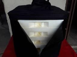 Bolsa mochila com bandejas para entregar marmitas de aluminio de número 8 e 9