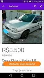 Corsa Classic Sedan 1.0 8 V 4 portas Ar Gelando 4 pneus novos gnv 16mts homologado doc ok - 2003